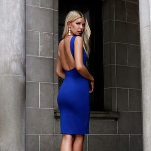 Lulu's LIKE A LADY ROYAL BLUE BACKLESS MIDI DRESS